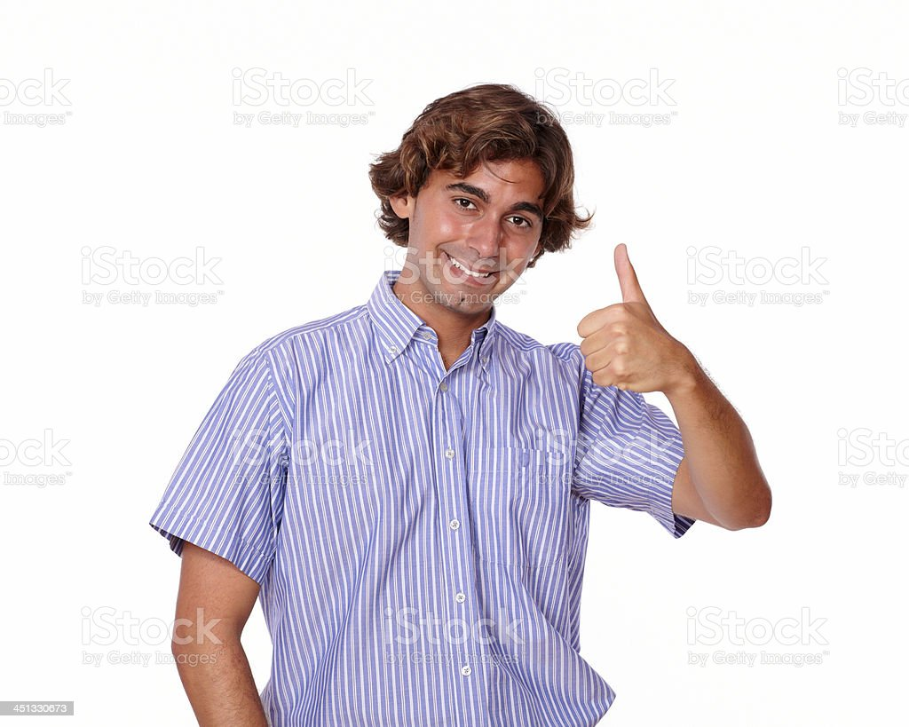 Handsome hispanic man showing ok sign, royalty-free stock photo