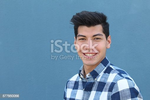 istock Handsome hispanic man with a perfect white smile 577950056