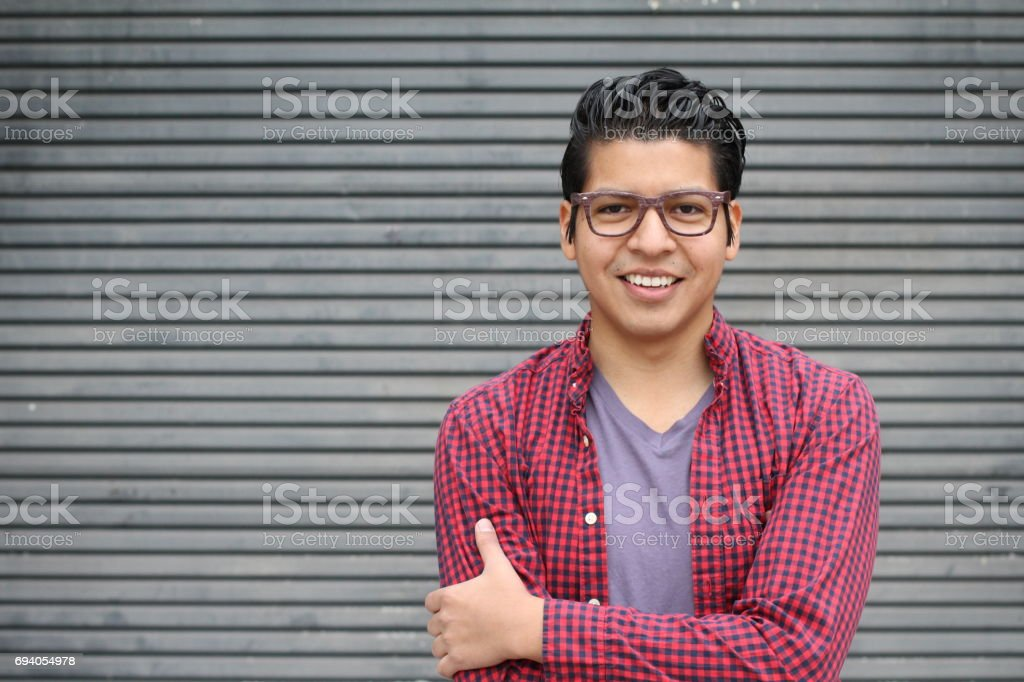 Handsome Hispanic Young Male with Copy Space stock photo