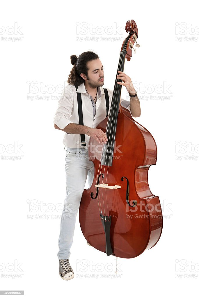 Handsome Jazz Musician Playing Double Bass isolated on white stock photo