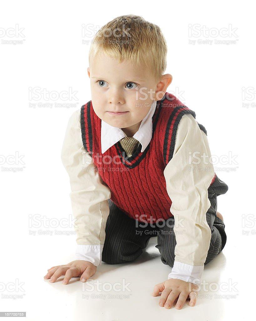 Handsome, Kneeling Preschooler stock photo
