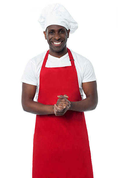 Handsome male chef isolated on white stock photo
