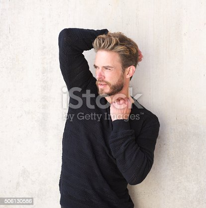 istock Handsome male fashion model with beard 506130586