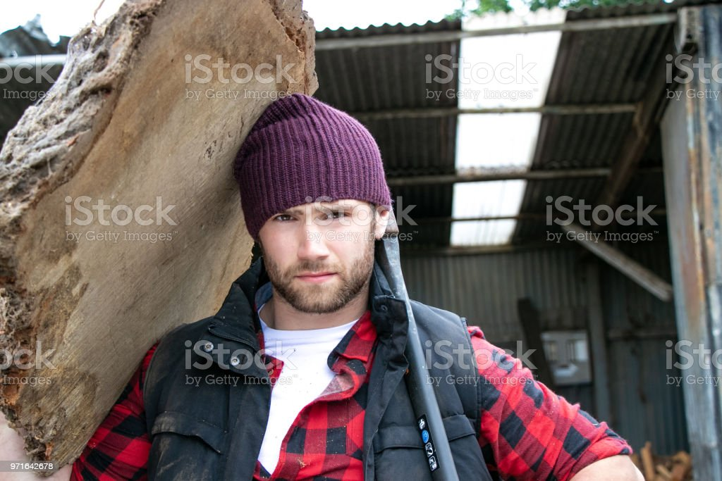 Handsome male lumberjack carries wood log on his shoulder stock photo