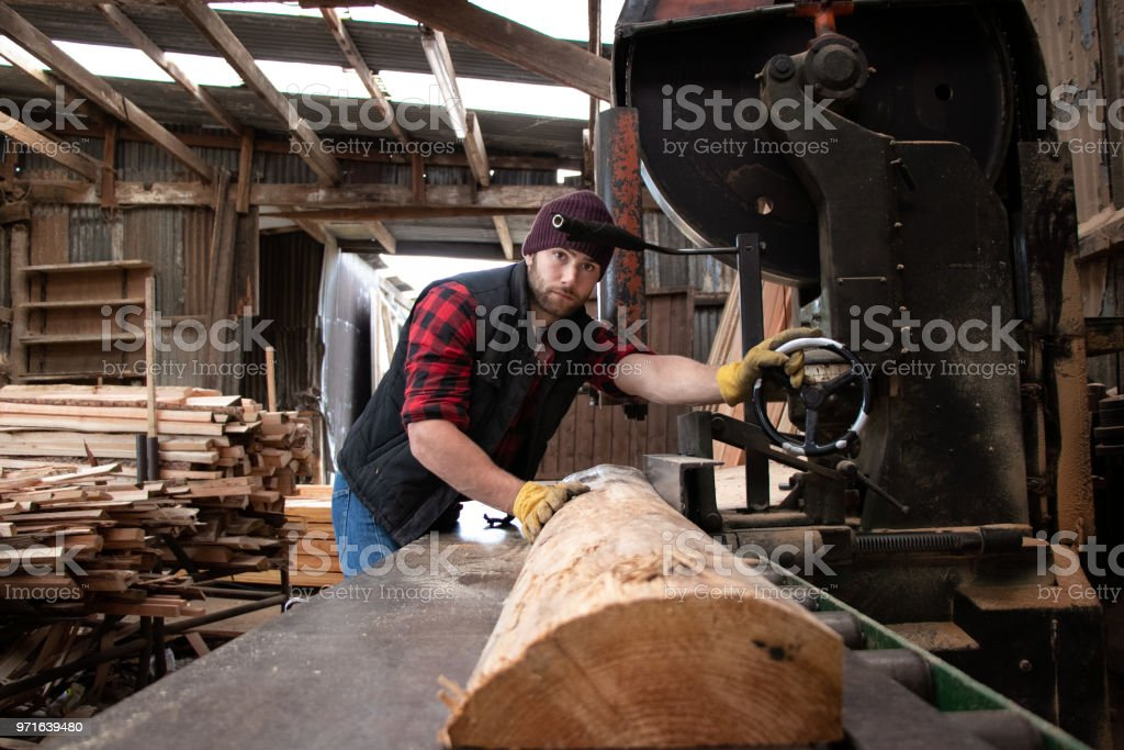 Handsome male lumberjack mills wood with band saw stock photo