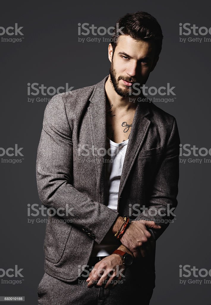 Handsome male model stock photo