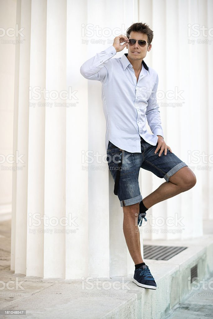 handsome male model smart casual summer fashion stock
