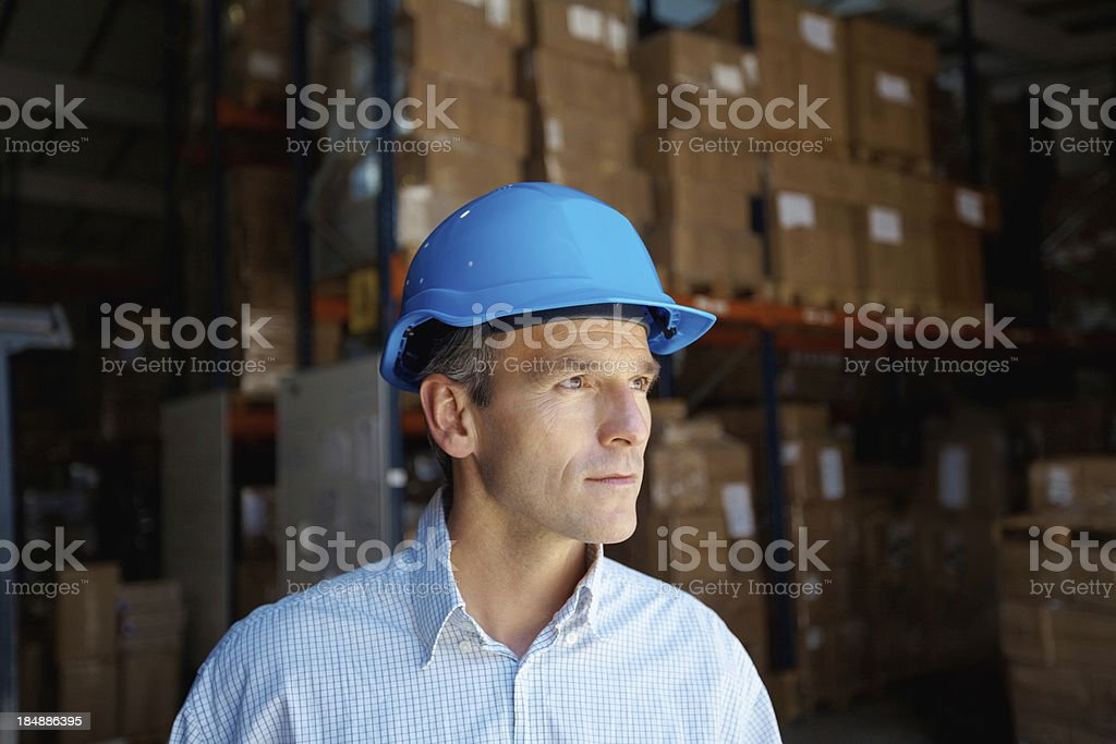 Handsome male supervisor in deep thought royalty-free stock photo
