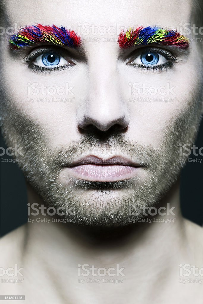 Handsome Male With Creative Make-up royalty-free stock photo