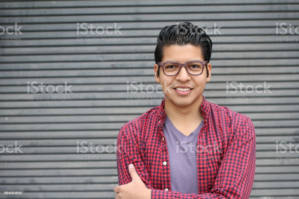 Handsome male with glasses portrait with copyspace stock photo