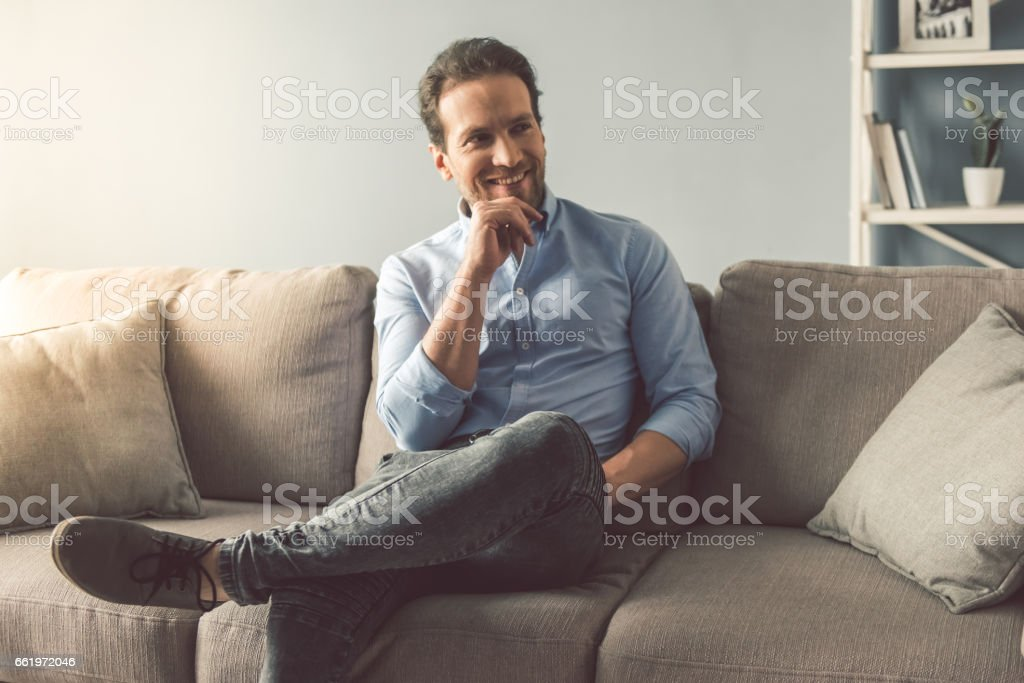Handsome man at home royalty-free stock photo