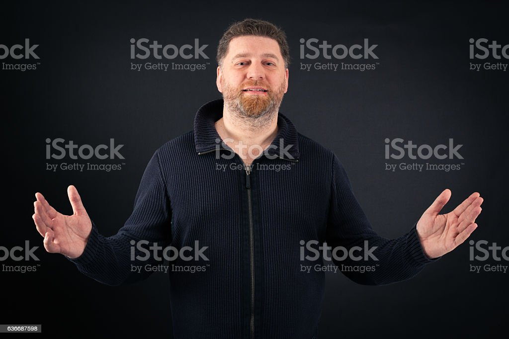 Handsome Man doing different expressions in different sets of clothes: joy stock photo