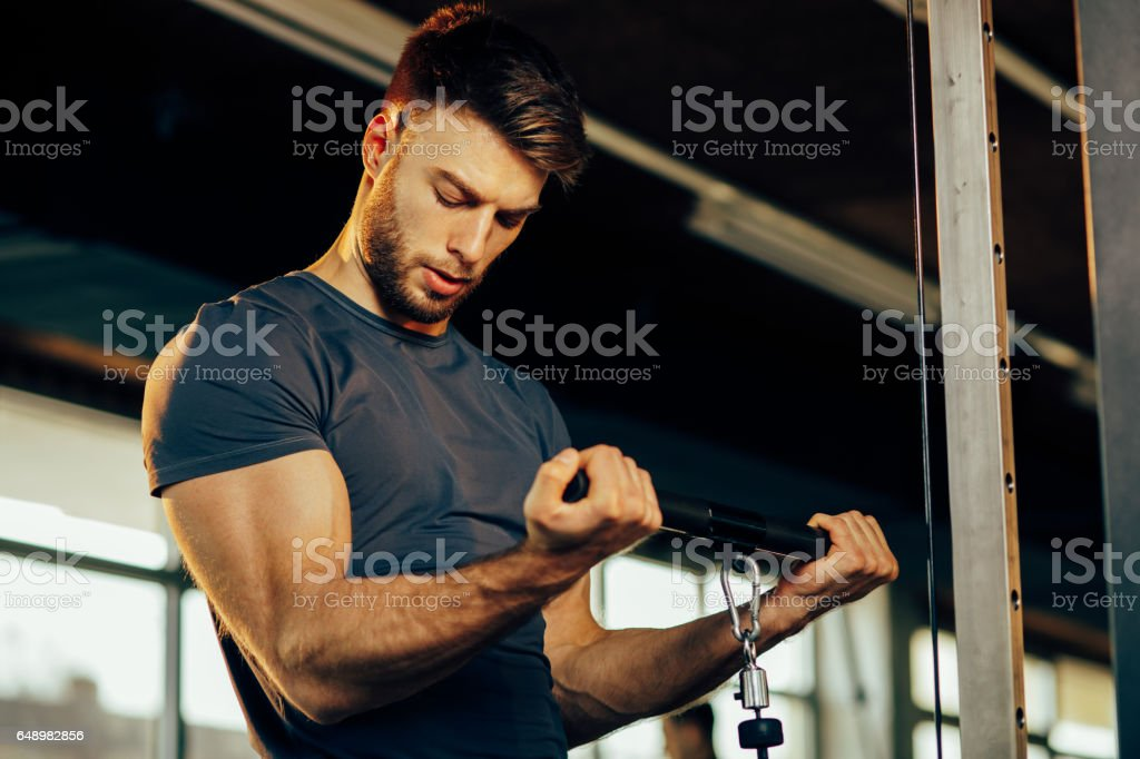 Handsome man doing heavy weight exercise for biceps in the gym stock photo