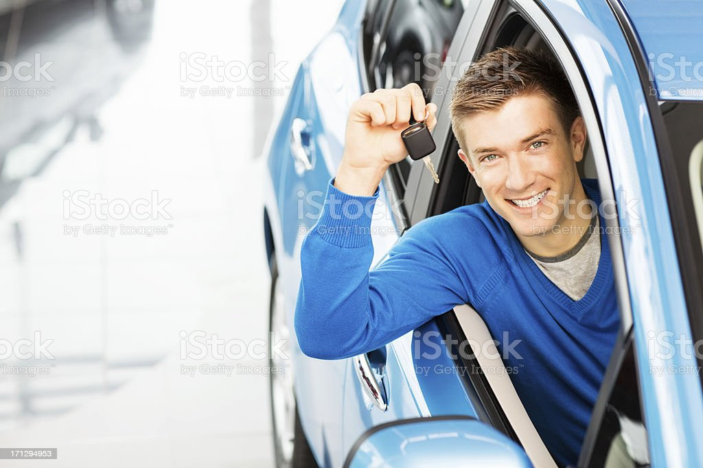 Handsome Man Holding Car Key royalty-free stock photo