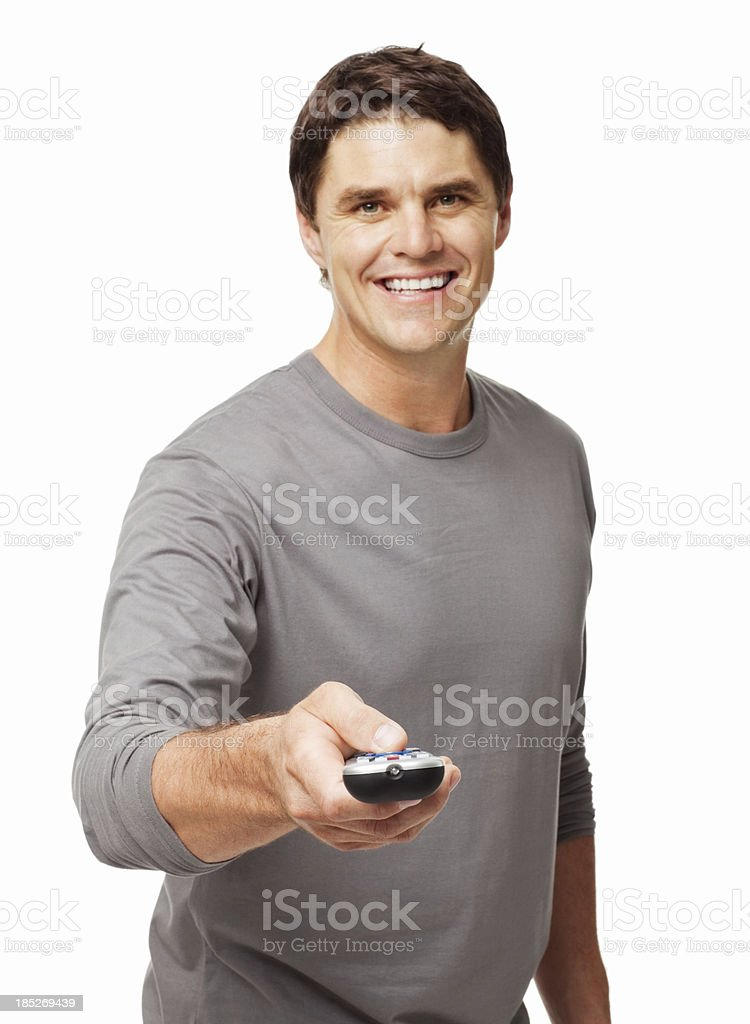 Handsome Man Holding Remote Control - Isolated royalty-free stock photo