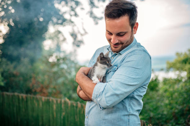 Handsome man hugging a cat outdoors. stock photo