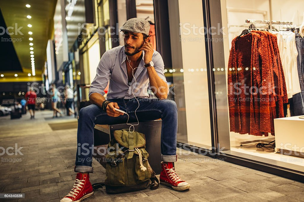 Handsome man humming stock photo