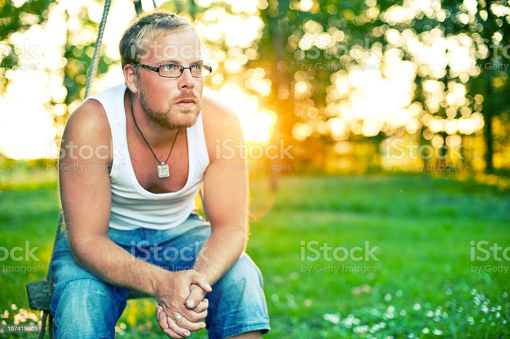 Handsome man in beautiful setting stock photo