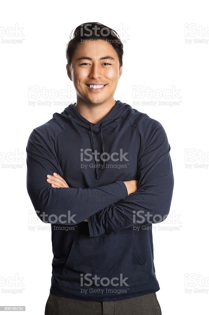 Handsome man in hood sweater stock photo
