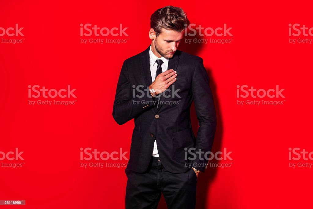 Handsome man in suit stock photo