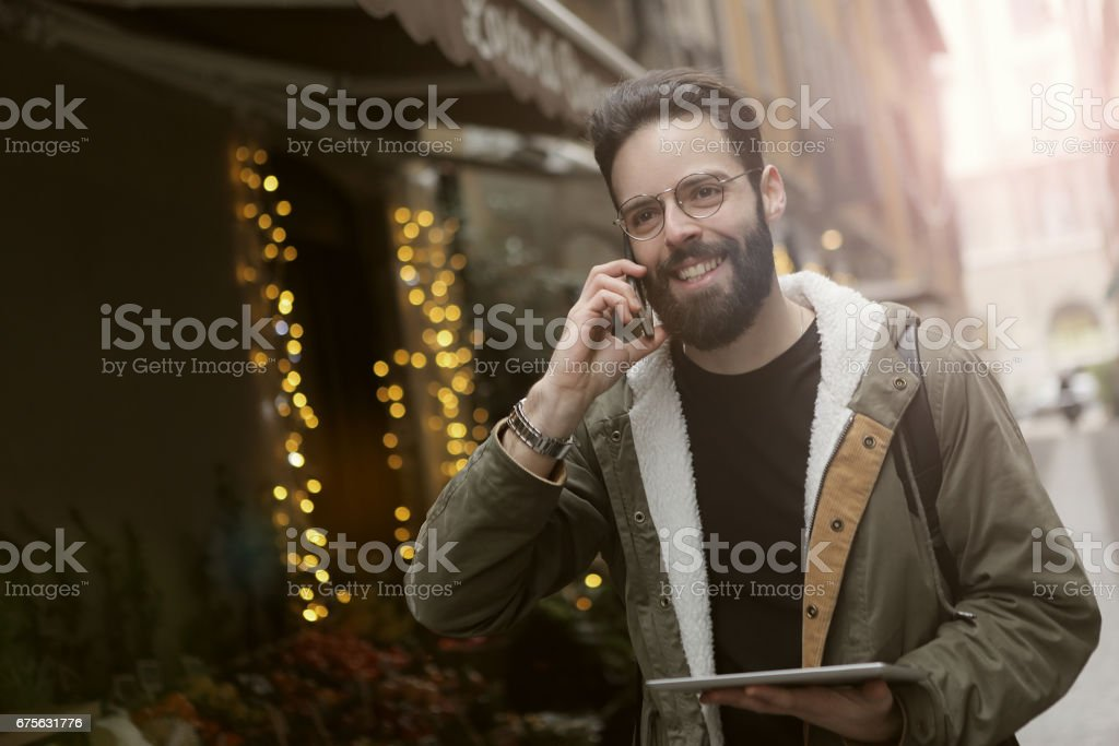 Handsome man in the city stock photo