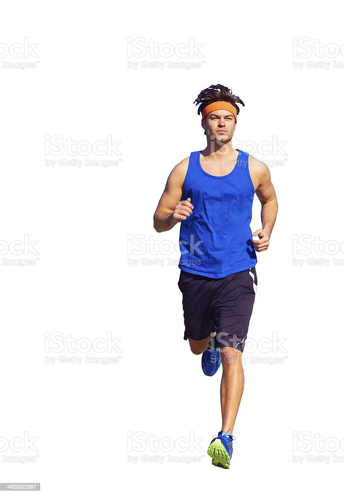 Handsome man jogging stock photo