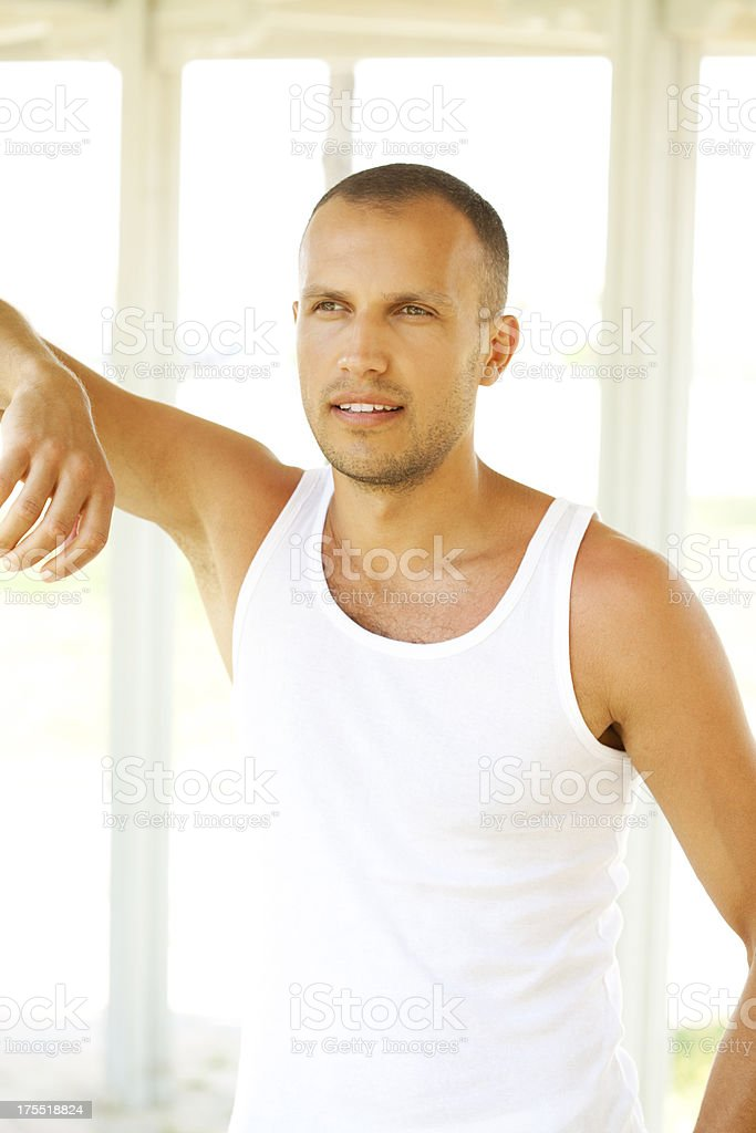 handsome man looking away royalty-free stock photo