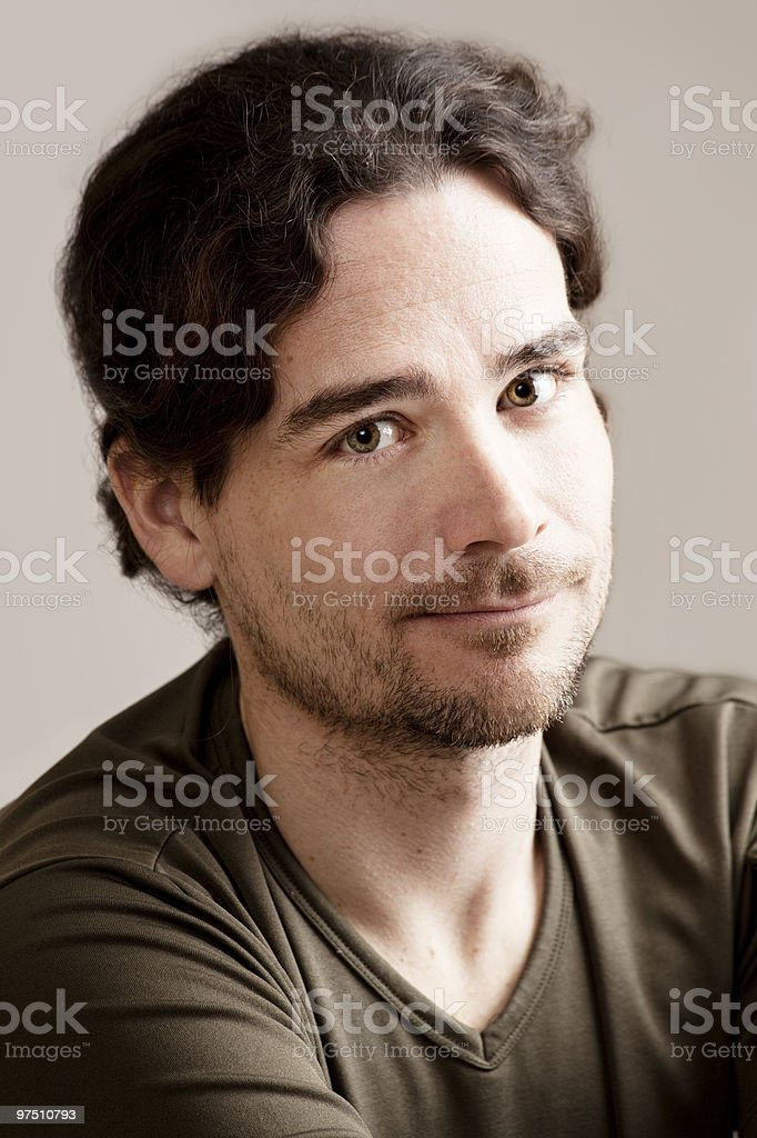 Handsome man looking up royalty-free stock photo