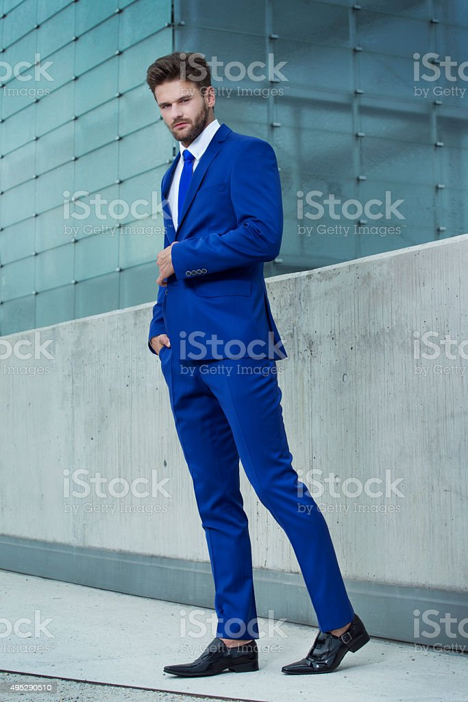 Handsome man of buildings stock photo
