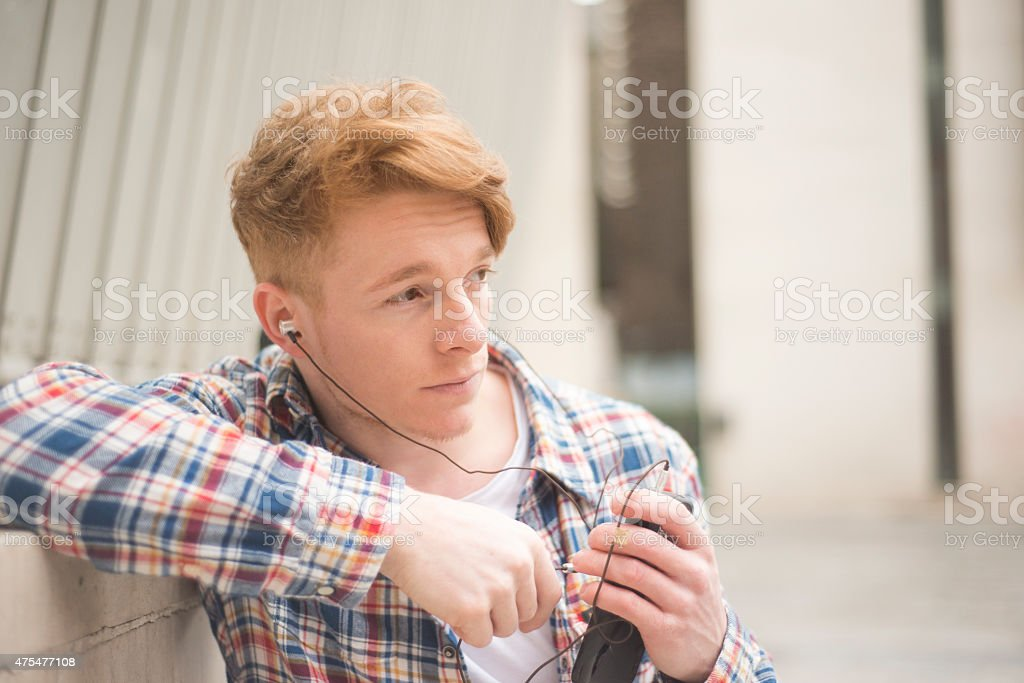 Handsome man on phone royalty-free stock photo
