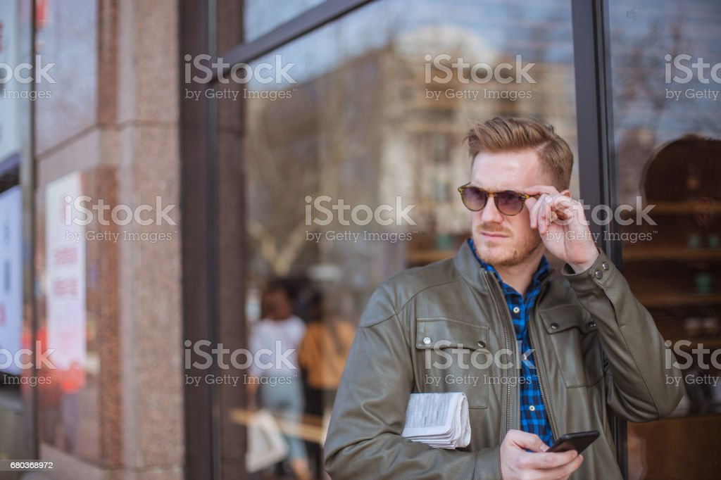 Handsome man on the street royalty-free stock photo