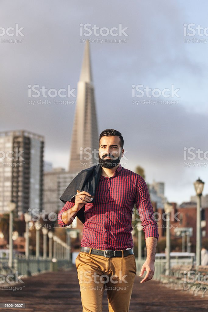 Handsome Man Pier Walk in San Francisco stock photo
