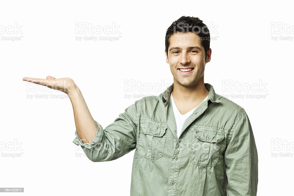 Handsome Man Presenting to the Side - Isolated royalty-free stock photo