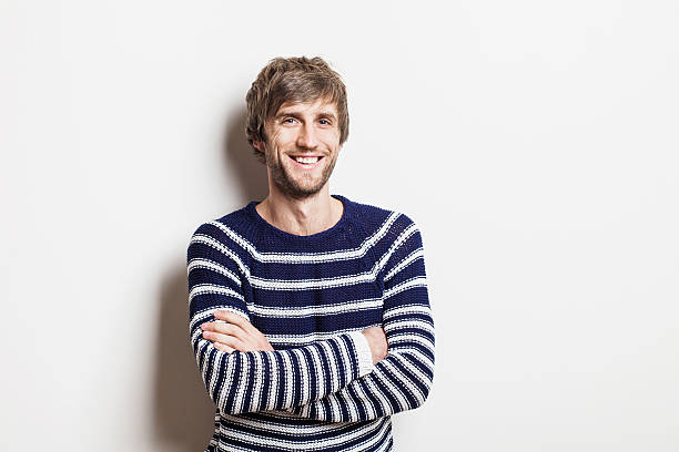 handsome man studio portrait - seemann thema stock-fotos und bilder