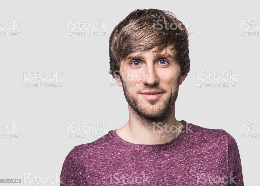Handsome man studio portrait stock photo