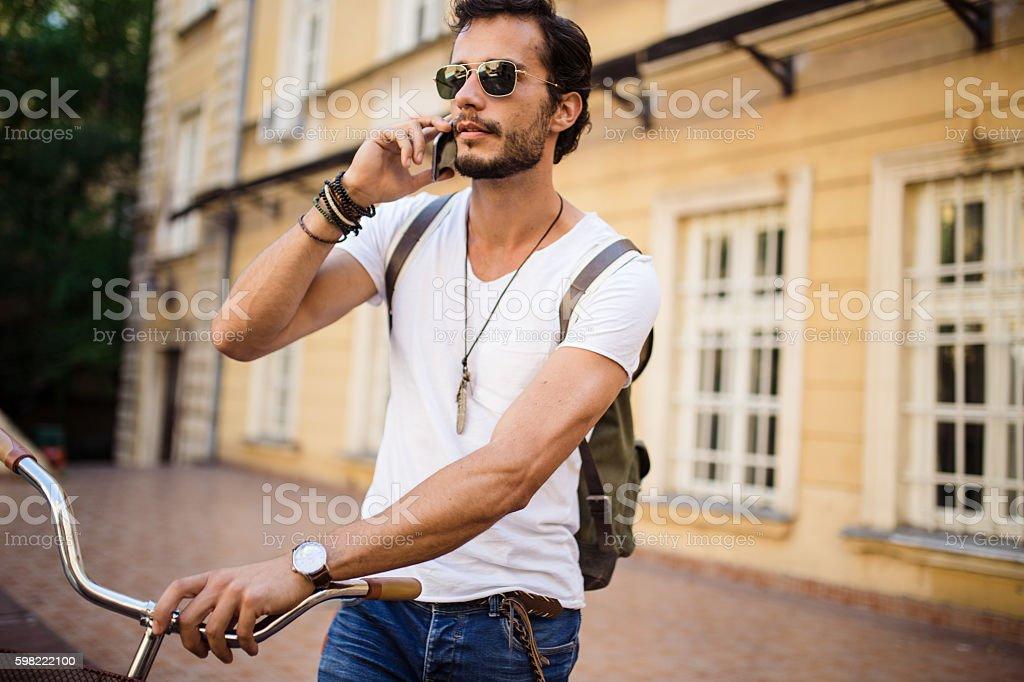 Handsome Man talking on mobile foto royalty-free