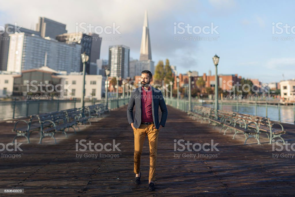 Handsome Man Walking in San Francisco stock photo
