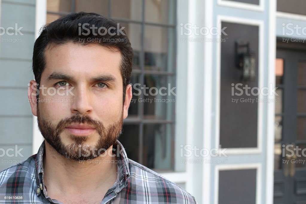 Handsome man with a beard stock photo