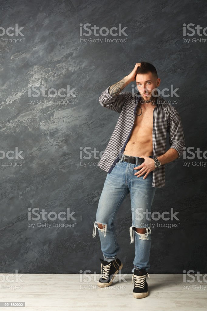 Handsome man with athletic body in studio royalty-free stock photo