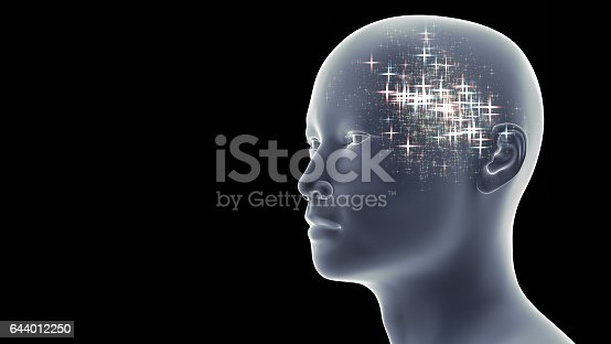 istock handsome man with blue and pink bright stars in his head in front of a black background 644012250