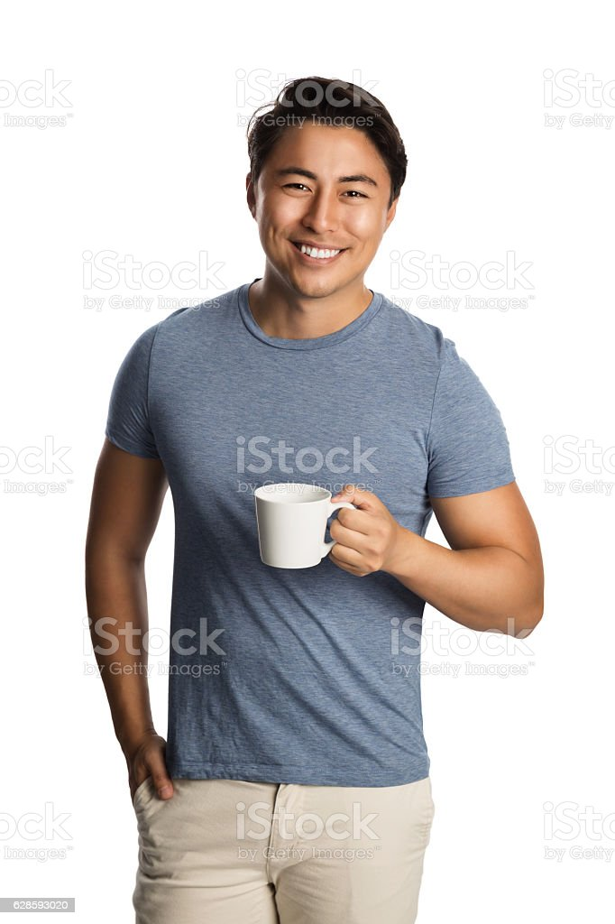 Handsome man with coffee cup stock photo