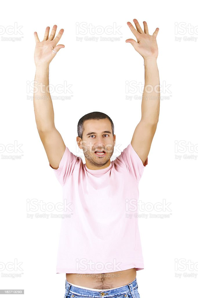 Handsome man with raised hands royalty-free stock photo