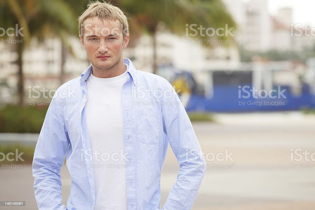 Handsome man with shirt unbuttoned royalty-free stock photo