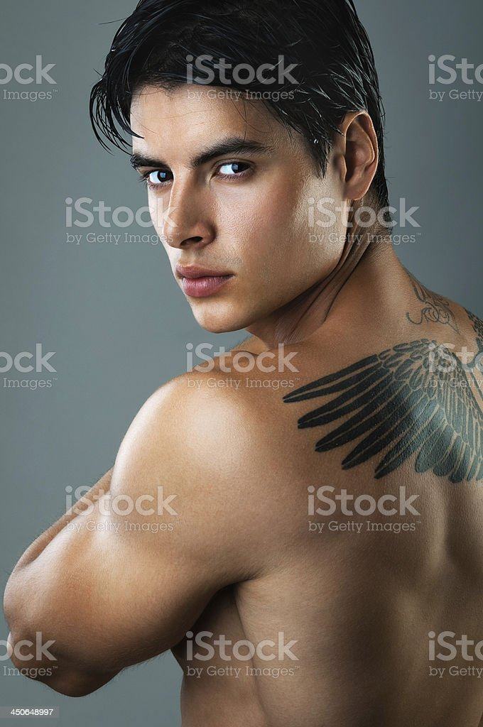 Handsome man with tattoo royalty-free stock photo
