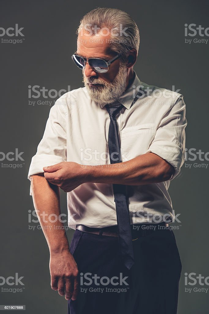 Handsome mature businessman stock photo