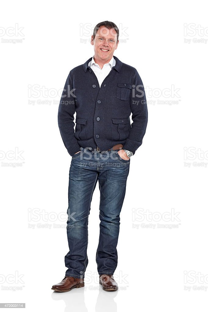 Handsome mature man posing in casuals over white stock photo