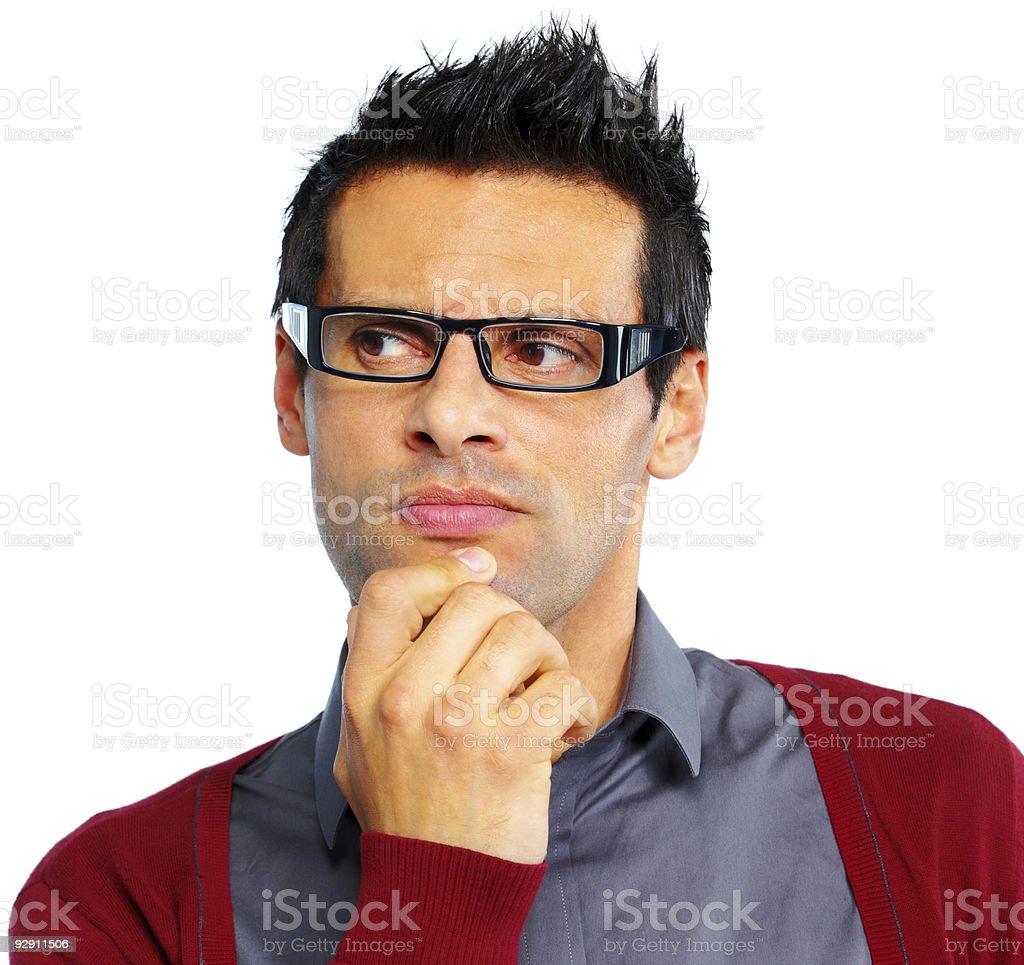 handsome mature Man thinking isolated on white background royalty-free stock photo