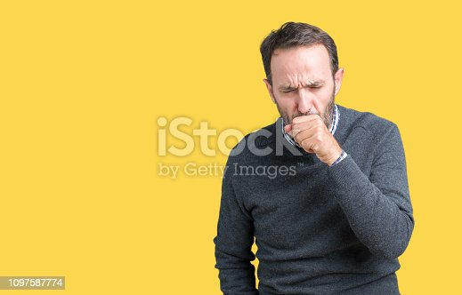 istock Handsome middle age senior man wearing a sweater over isolated background feeling unwell and coughing as symptom for cold or bronchitis. Healthcare concept. 1097587774
