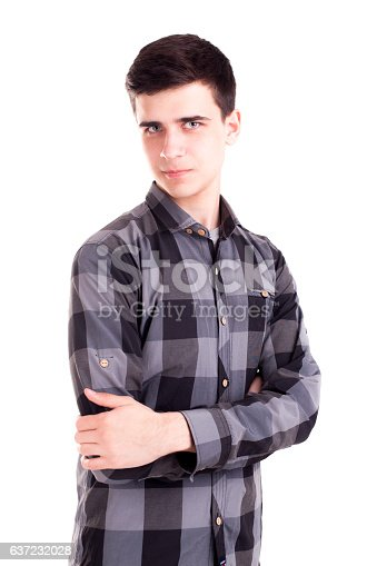 Handsome model boy posing isolated on white