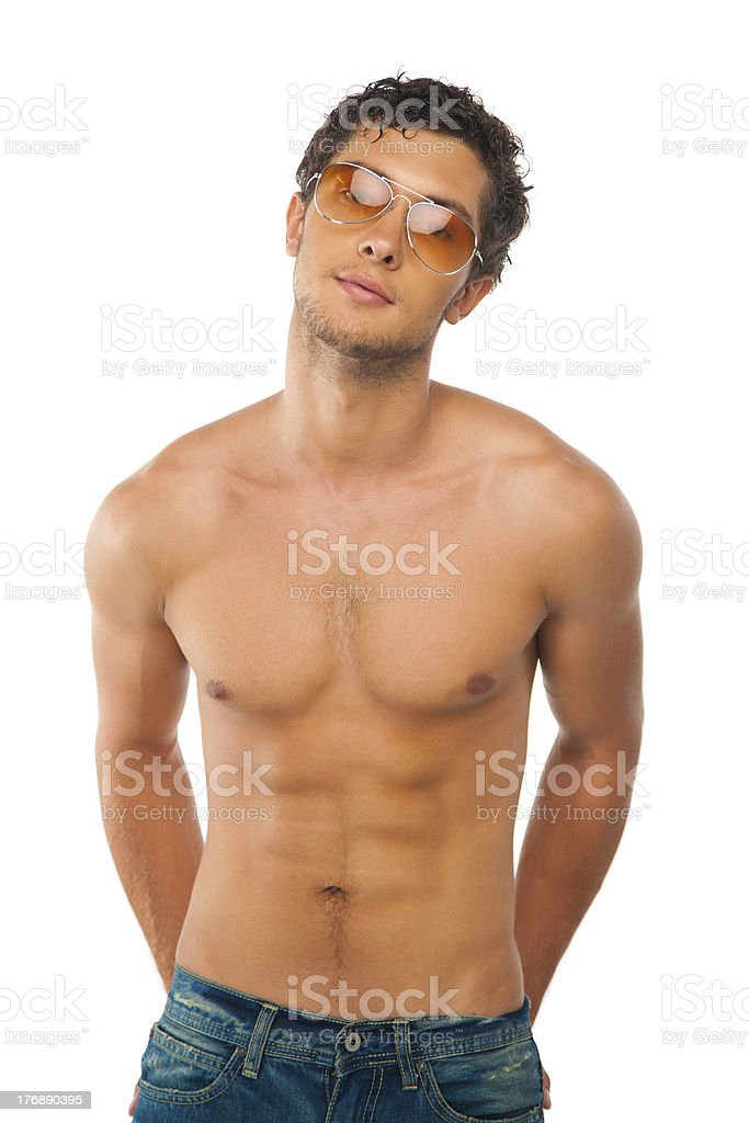 handsome muscular boy isolated on white royalty-free stock photo
